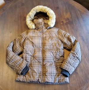 Columbia brown Plaid down jacket with hood size M
